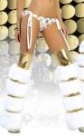 Бело-золотые меховые гетры