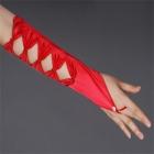 Красные перчатки без пальцев с бантами